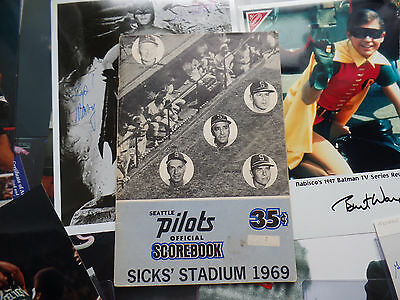 Seattle Pilots LOT 1969 Program Blue VERS SICKS STADIUM envelopes for schedule