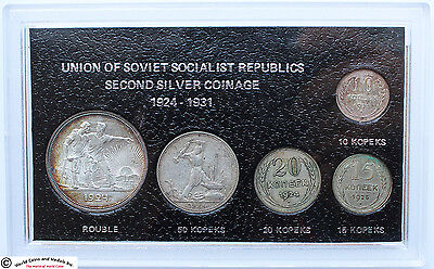 Ussr, Silver Coinage Of Ussr 1924-1931 Set Of 5 Silver Coins In Holder. #2.