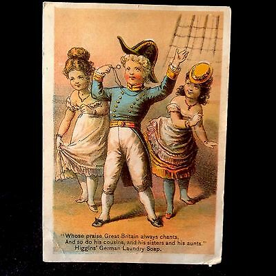 Higgins German Laundry Soap Trade Card 1880s Gilbert And Sullivan Sailor 2 Maids