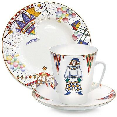 Imperial Lomonosov Porcelain Tea Cup Saucer Plate Petrushka Ballet 3-pc. SALE