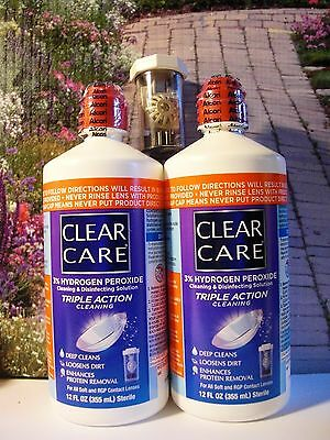 Clear Care Cleaning & Disinfecting Solution 3% Hydrogen Peroxide 2 LARGE 12oz UB