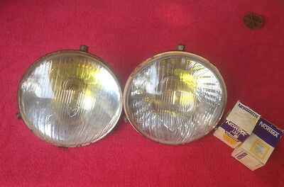 2X MARCHAL EQUILUX 7inc AND YELLOW BULB NORMALUX 12 VOLT