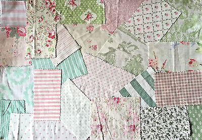 Scrap bag 100% cotton pale pink and greens