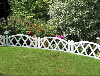4 x  Plastic Garden Fence Panels Boarder Lawn Palisade Edge Patio Fencing WHITE