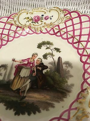 Rare 19Th C Meissen Pink Courting Couple Upierced Lattice Edge Plate No2  [24Cm]