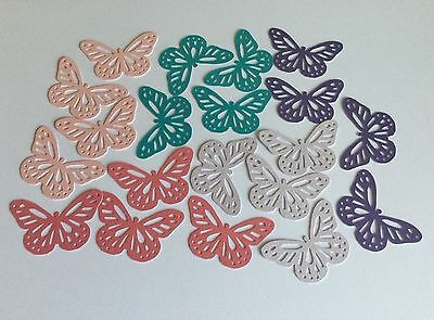 20 x Punched Butterflies Card Toppers ~ Mixed Purple Pink Aqua Pearlescent Card