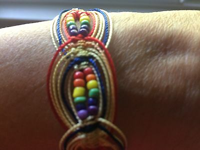Bracelet With Chaquiras Color Rainbow .rope Caladryl  Made Colombia.