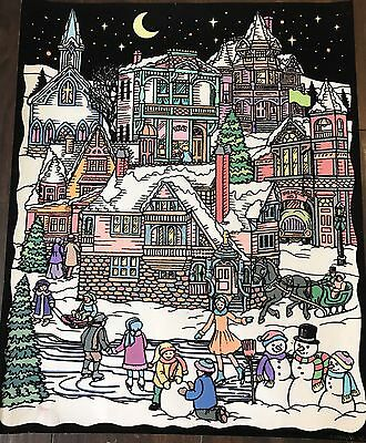 Vintage Black Velvet Paint Art Poster Starline Inc Winter Village Scene 16x20