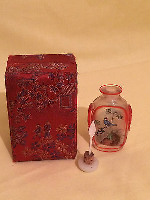 Superb Antique Chinese Inside Painted Glass Snuff Bottle and its box.