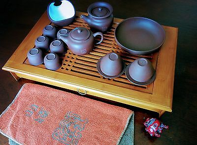 Li Yu Fine Clay China 20 Piece Gongfu Tea Cremony Set with Bamboo Tray and More
