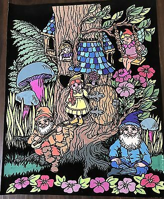 Vintage Black Velvet Paint Art Poster Starline Inc Gnomes Living in Tree 16x20