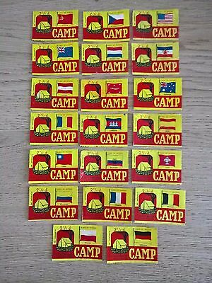 Camp Flags  Matchbox labels  2 1/2 D priced - Full set of 20