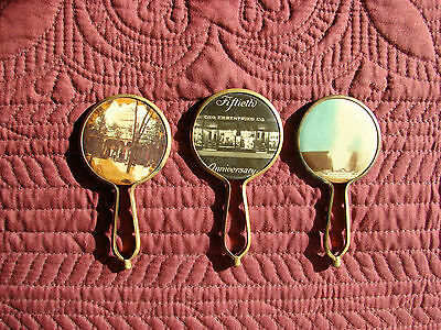 Vintage Celluloid ADVERTISING Pocket Mirrors with handles