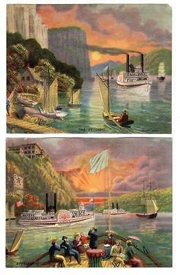 Two Large 1880s SCRAP or TRADE CARDS picturing STEAM BOATS on HUDSON RIVER NY