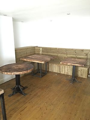 Rustic Cafe Tables Steel Bases With Reclaimed Timber Tops