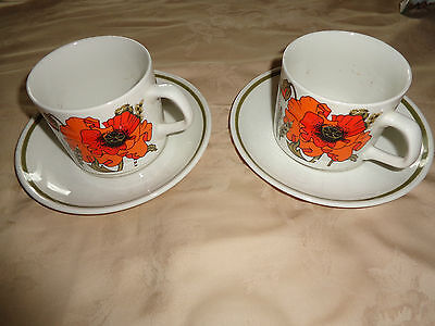 J & G Meakin Poppy Design  2 Cups And 2 Saucers