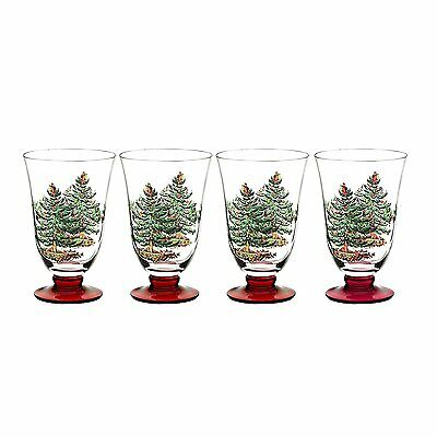 Spode Christmas Tree Glasses with Red Stem, Set of 4, 18-ounce