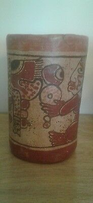 Mayan Stucco Cylinder Reproduction  polychrome vessel