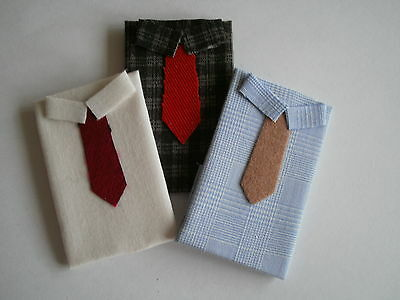 Dolls house miniatures, handmade set of 3 display shirts 1:12th scale --