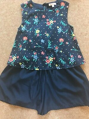 Bluezoo Debenhams Age 8 Girls Floral Navy Summer Playsuit