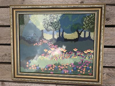 Vintage Tapestry Abstract Bright Wool Art Needlepoint Shabby Chic Embrodiery