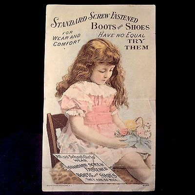 Standard Screw Fastened Boots And Shoes Victorian Trade Card 1880s Girl Bouquet