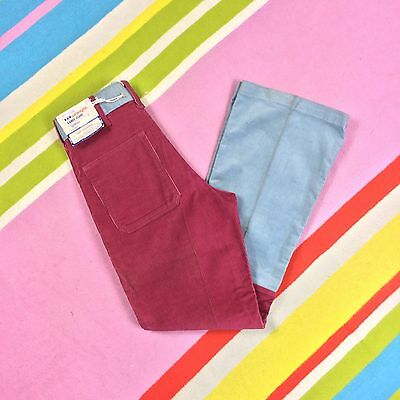 "Women's Red Grey Corduroy Flared Trousers 70s Vtg Mom Flare V-knee Jeans 28"" 10"