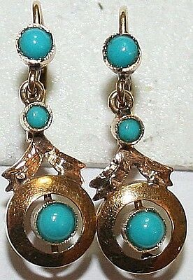 ANTIQUE FRENCH VICTORIAN 18k GOLD TURQUOISE 3 STONE FINE DANGLE EARRINGS c 1900