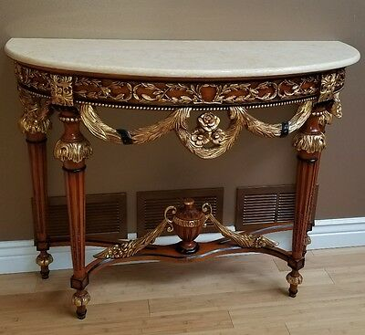 Antique Console Marble and Wood Gold and Black Table MUST SEE