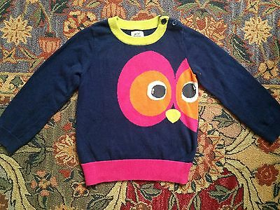 Mini Boden Girls Owl Eyes Navy Sweater, Size 2-3