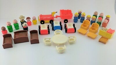 Fisher Price Vintage Little People Lot - Wooden Figures Furniture cars and More!