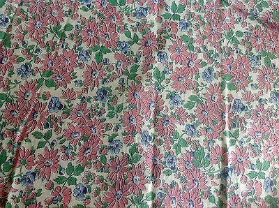 Vintage Bright Pink Blue Green Daisy Flowers FeedSack Fabric Actual Bag