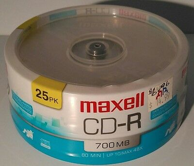 25 Maxell CD-R CDR Surface Blank Media Disks Discs 80Min 700MB New & Sealed