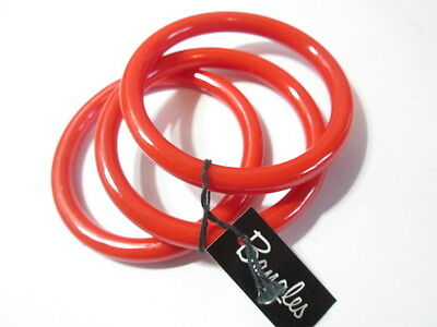 Reddish Orange Bangle Bracelets New Old Stock Set 3 Chunky Thick Lucite Classic