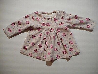 Toddler Girl's Carter's Fleece Dress Long Sleeve White Floral Size 12 Months