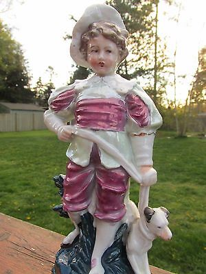 Antique 19th Century 1810 German Dresden? Porcelain Figurine Boy With Dog