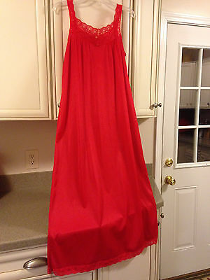 Vintage Red Nyon Lace Long Gown M JC Penney