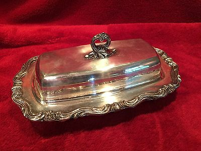 Vintage Silverplate covered butter dish with glass insert