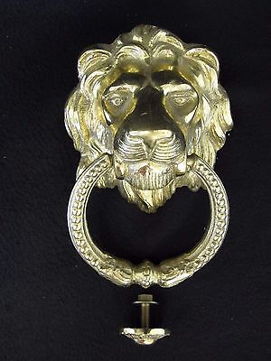 "Large LION Head DOOR KNOCKER, Cast Brass 5-1/2"" Wide For a Grand Welcome! Nice"