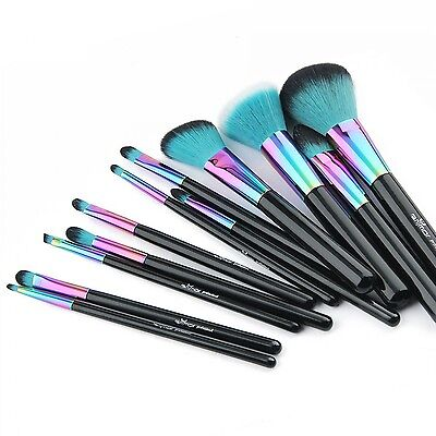 Spectrum Anmor Green Full Set New Make up Brushes 12pcs Set Rainbow Xmas Gift