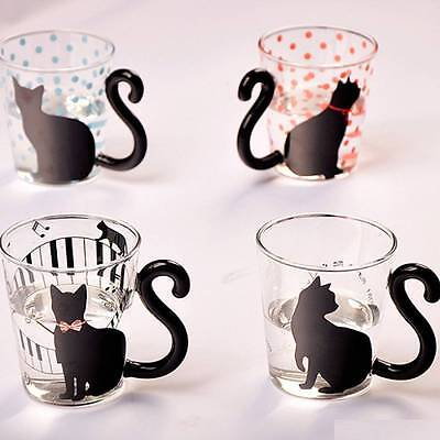 Cute Creative Cat Kitty Glass Mug Cup Tea Cup Milk Coffee Cup