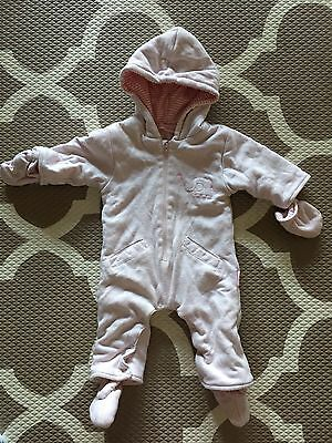 Baby Girl Padded Hoodie Winter Jumpsuit 0-3 Size 00 Months Pink Mittens Booties