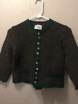 Girls Child Austria Cardigan Pewter Norwegian Wool Sweater Size 6-7 130 Kids