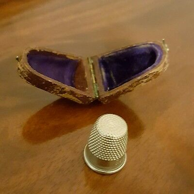 Victorian-era Solid Nickel Silver Thimble w/Case-  FREE SHIPPING