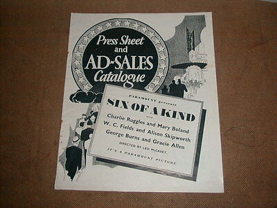 Six of a Kind  1934 Press Sheet and AD-SALES Catalog W.C. Fields from England