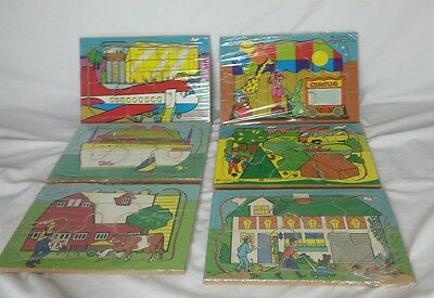 6- Vtg WOOD PUZZLES Connor Toy & Puzzle Works >School Used< Made/USA