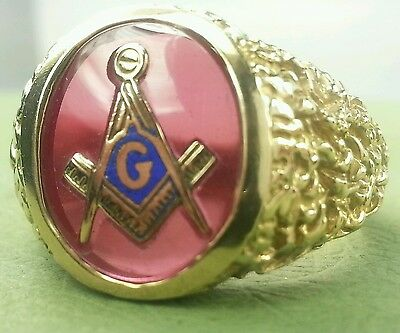 VINTAGE 10k Yellow Gold Red Masonic Nugget Ring LOWEST ON EBAY SZ9.5