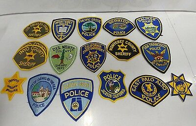 Lot of 17 California Police and Sheriff Patches -- Patch Low Angeles Palo Alto