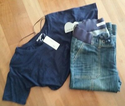 NEW Maternity Clothes Outfit Size S 8 & 10 Lace top & Denim 3/ 4 Jeans DESIGNER