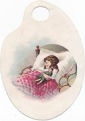 CARTER'S Little Nerves Pills, NERVOUS Liver Victorian Trade Card Sleeping Girl